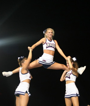 Cheerleading Stunts for Small Squads http://cheerleadinginfocenter.typepad.com/cheerleading_info_center/fau-owl-cheerleaders.html